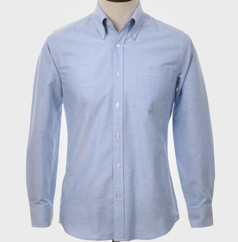 Art Gallery Mens Long Sleeve Cotton Oxford Shirt Sky Blue Thumbnail 2