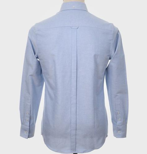 Art Gallery Mens Long Sleeve Cotton Oxford Shirt Sky Blue Thumbnail 3