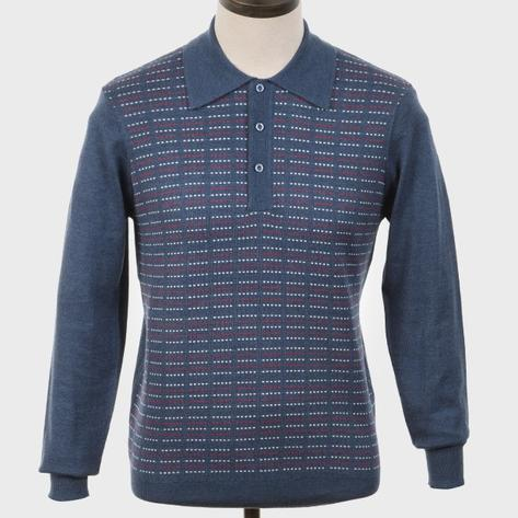 Art Gallery Pattern Front Knitted Polo Mid Blue Thumbnail 1