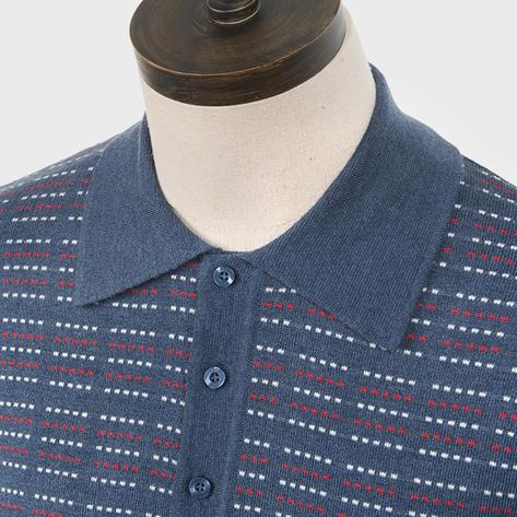 Art Gallery Pattern Front Knitted Polo Mid Blue Thumbnail 2