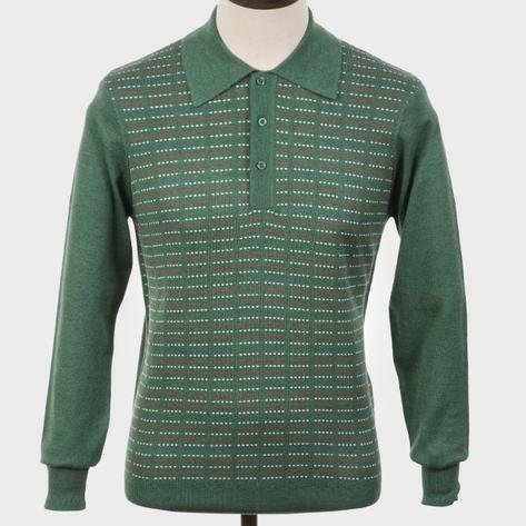 Art Gallery Pattern Front Knitted Polo Isle Green Thumbnail 1