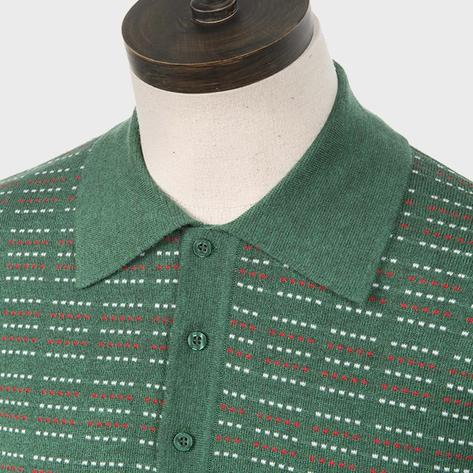 Art Gallery Pattern Front Knitted Polo Isle Green Thumbnail 2