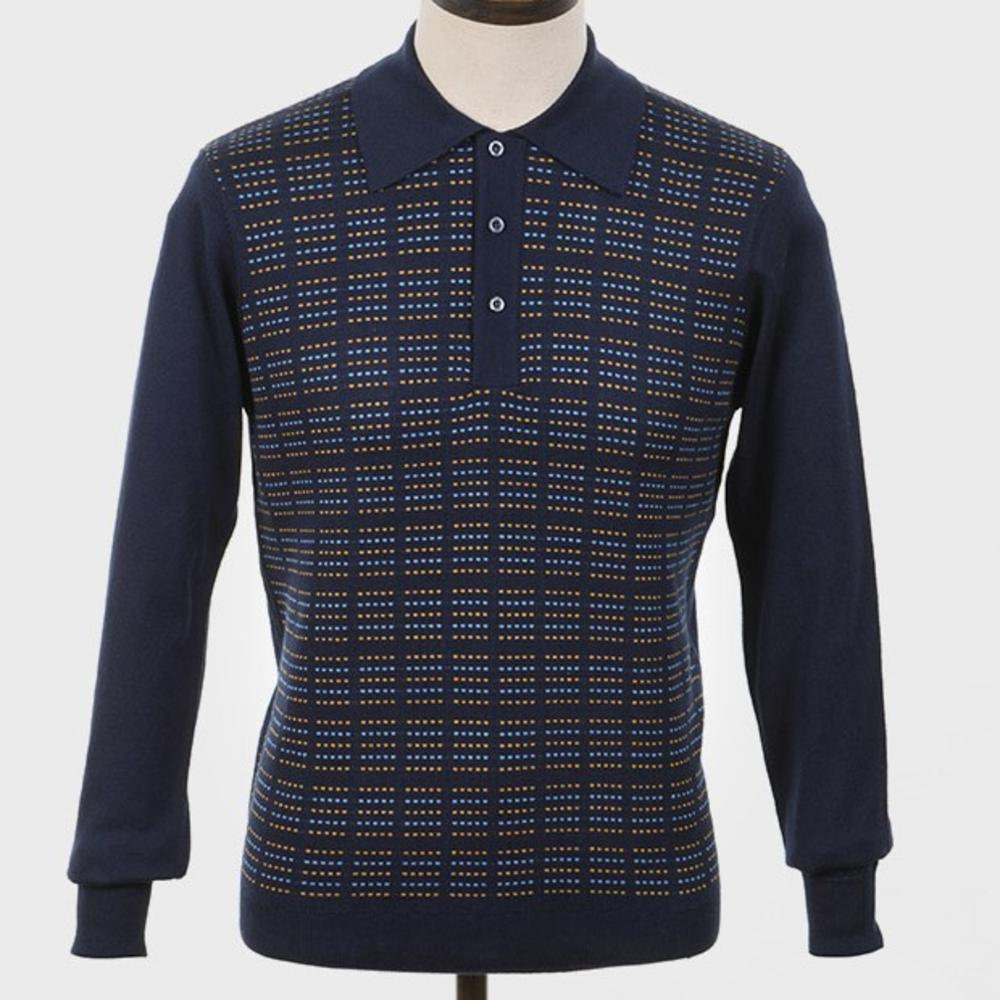 Art Gallery Pattern Front Knitted Polo Navy Blue