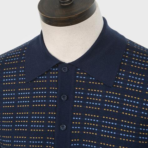 Art Gallery Pattern Front Knitted Polo Navy Blue Thumbnail 2