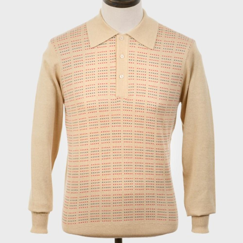 Art Gallery Pattern Front Knitted Polo Stone
