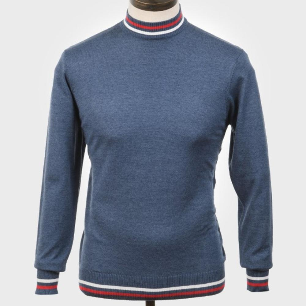 Art Gallery Mens Cotton Knit Turtle Neck Jumper Mid Blue