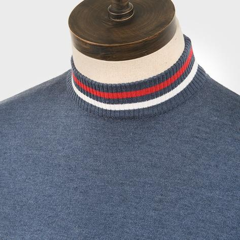 Art Gallery Mens Cotton Knit Turtle Neck Jumper Mid Blue Thumbnail 2