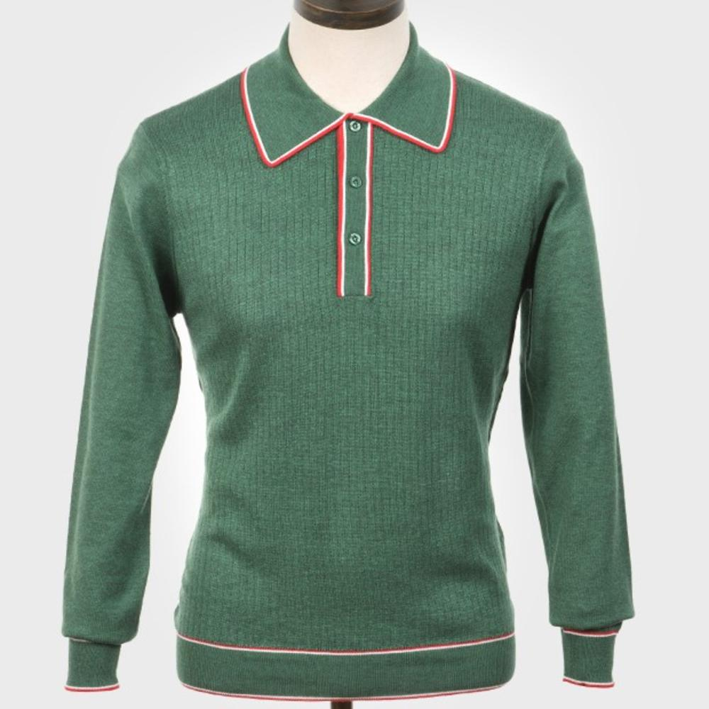 Art Gallery Isley Ribbed Knit Tipped Polo Green