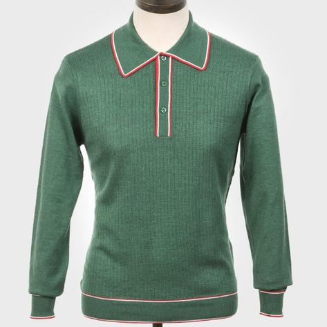 Art Gallery Isley Ribbed Knit Tipped Polo Green Thumbnail 1