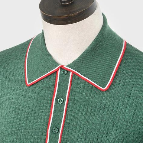 Art Gallery Isley Ribbed Knit Tipped Polo Green Thumbnail 2