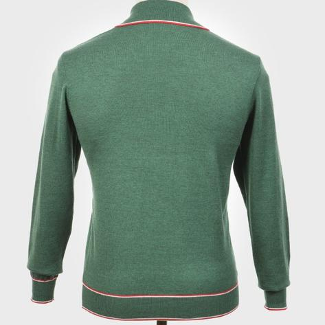 Art Gallery Isley Ribbed Knit Tipped Polo Green Thumbnail 3