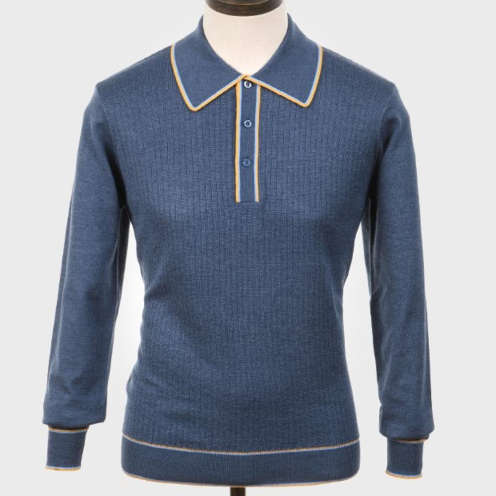 Art Gallery Isley Ribbed Knit Tipped Polo Mid Blue