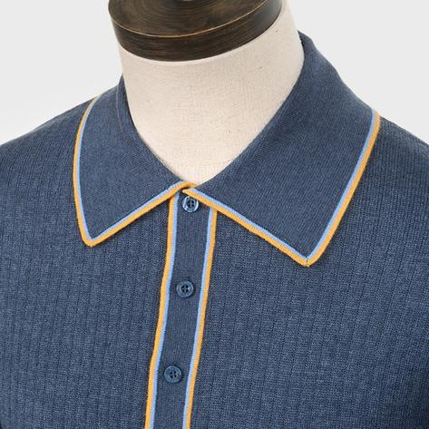 Art Gallery Isley Ribbed Knit Tipped Polo Mid Blue Thumbnail 2