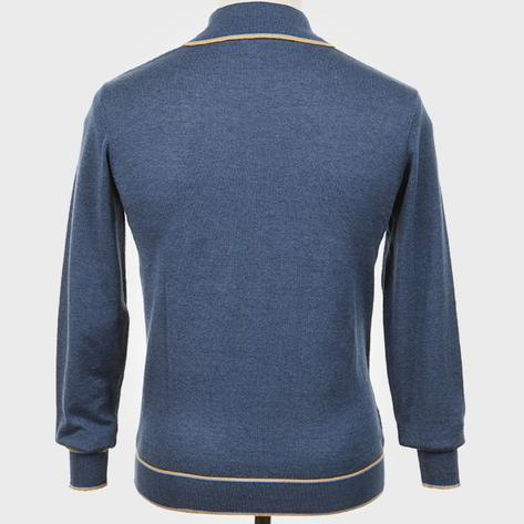 Art Gallery Isley Ribbed Knit Tipped Polo Mid Blue Thumbnail 3