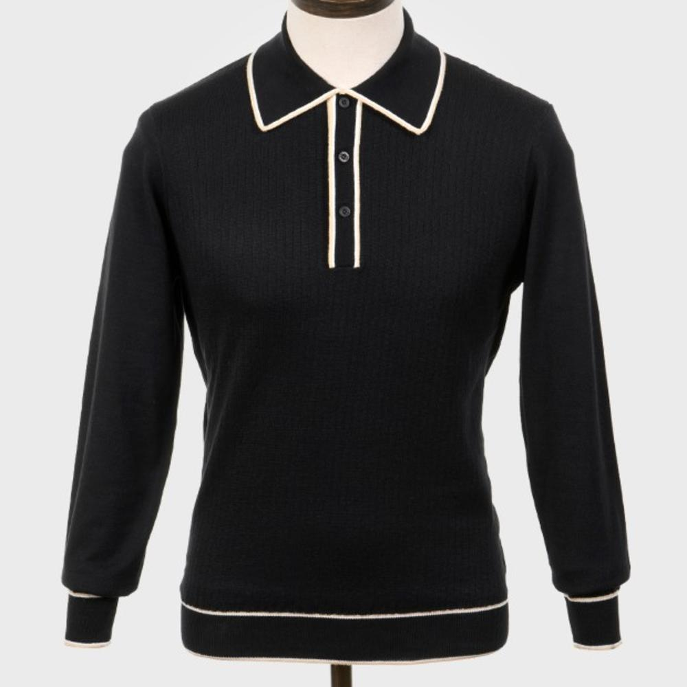 Art Gallery Isley Ribbed Knit Tipped Polo Black