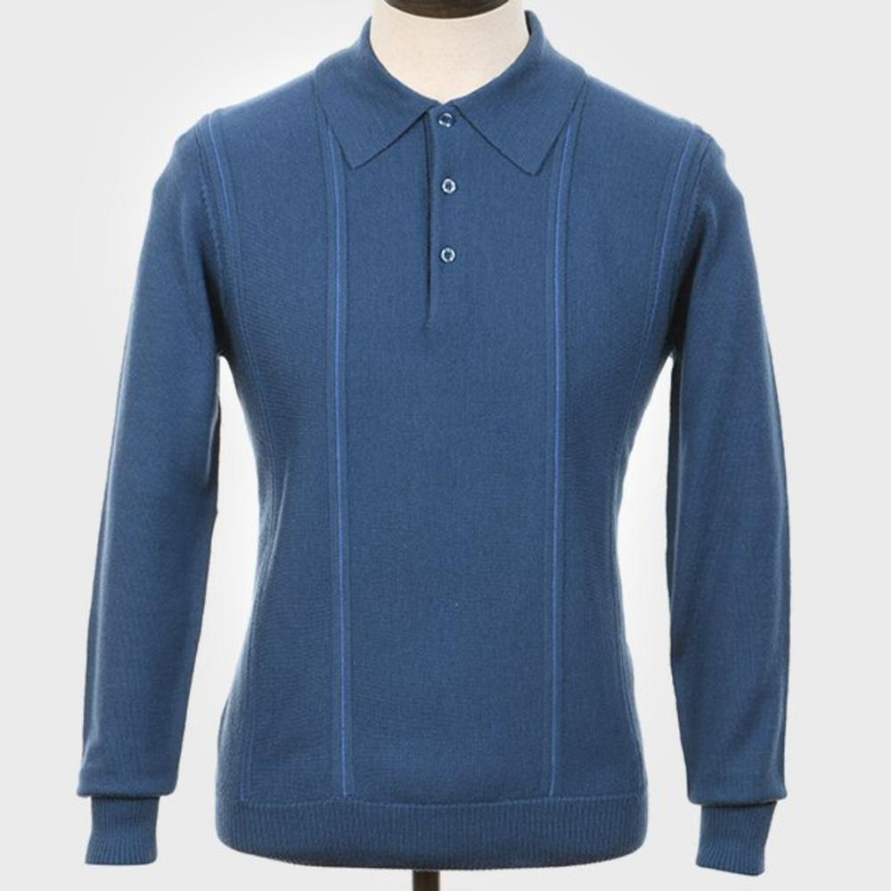 Art Gallery Pipe Stripe Front Knitted Polo Blue