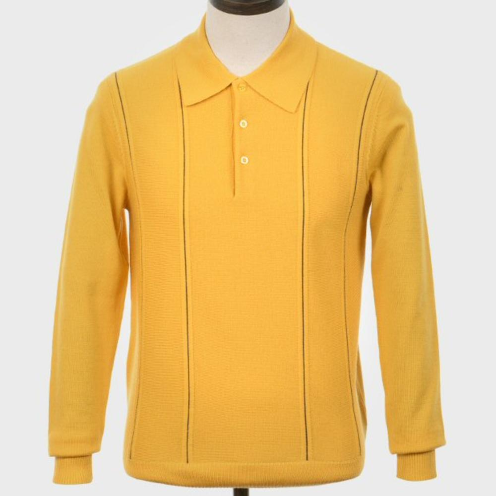 Art Gallery Pipe Stripe Front Knitted Polo Mustard