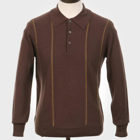 Art Gallery Pipe Stripe Front Knitted Polo Brown
