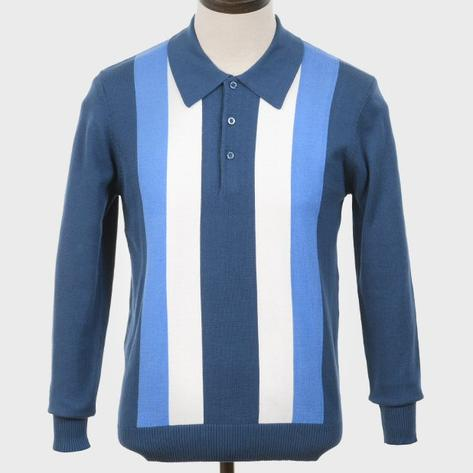 Art Gallery Bold Contrast Stripe Knitted Polo Blue Thumbnail 1
