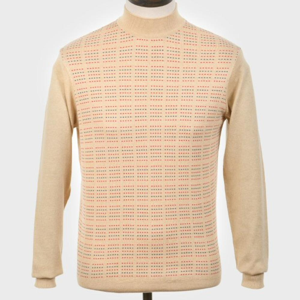 Art Gallery Pattern Front Knit Turtle Neck Jumper Beige
