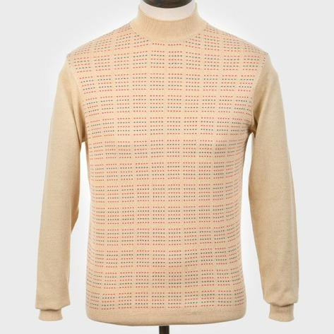 Art Gallery Pattern Front Knit Turtle Neck Jumper Beige Thumbnail 1