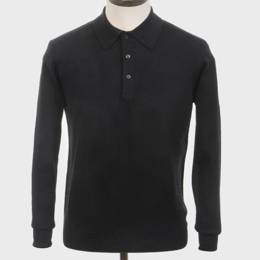 Art Gallery Mens Merino Wool Knit Polo Black