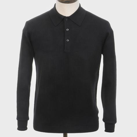 Art Gallery Mens Merino Wool Knit Polo Black Thumbnail 1