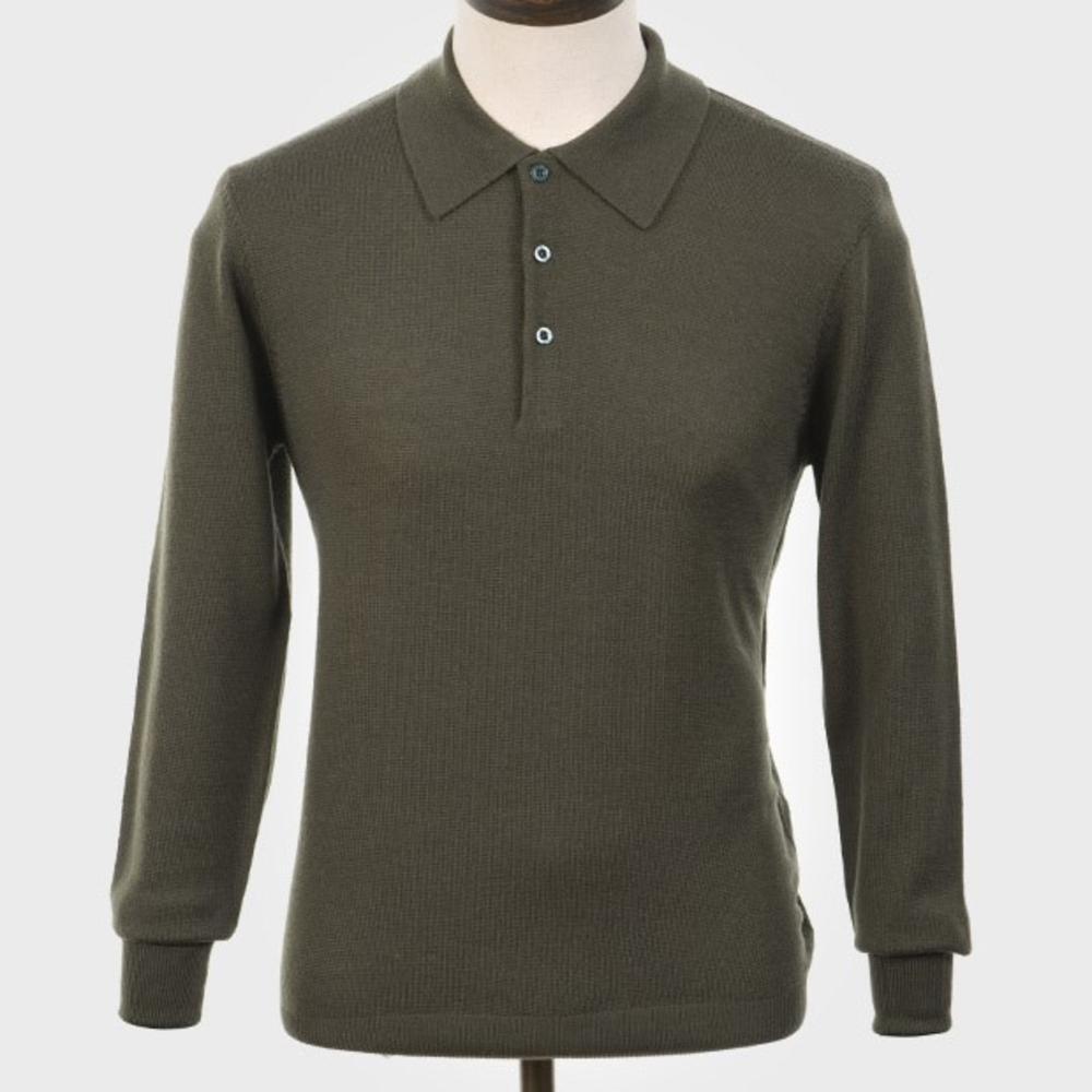 Art Gallery Mens Merino Wool Knit Polo Isle Green