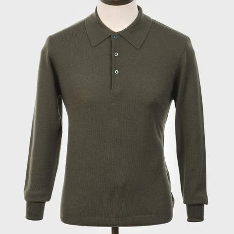 Art Gallery Mens Merino Wool Knit Polo Isle Green Thumbnail 1