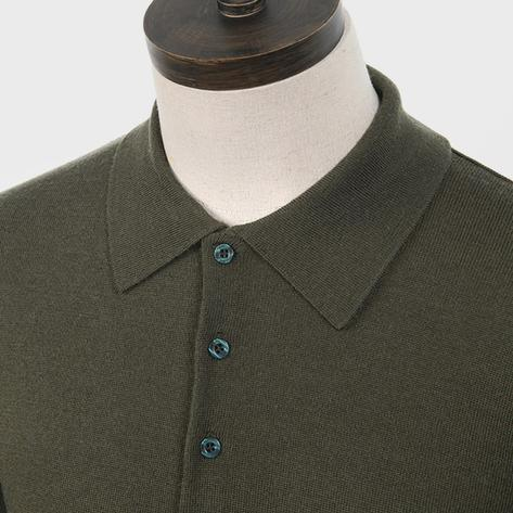 Art Gallery Mens Merino Wool Knit Polo Isle Green Thumbnail 2