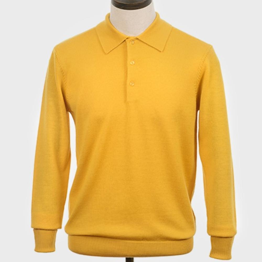 Art Gallery Mens Merino Wool Knit Polo Mustard
