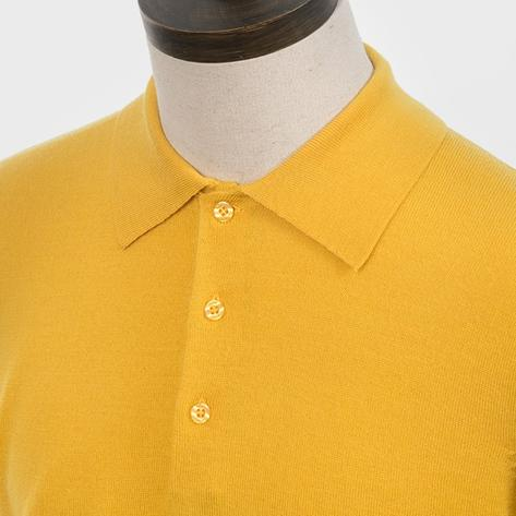 Art Gallery Mens Merino Wool Knit Polo Mustard Thumbnail 2