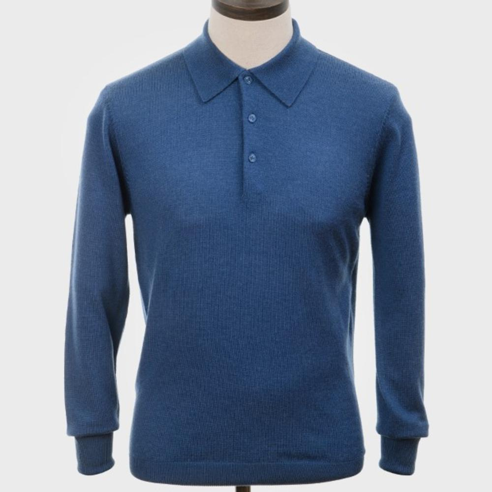 Art Gallery Mens Merino Wool Knit Polo Mid Blue