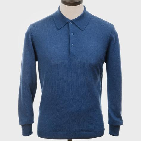 Art Gallery Mens Merino Wool Knit Polo Mid Blue Thumbnail 1