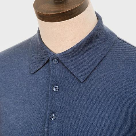 Art Gallery Mens Merino Wool Knit Polo Mid Blue Thumbnail 2