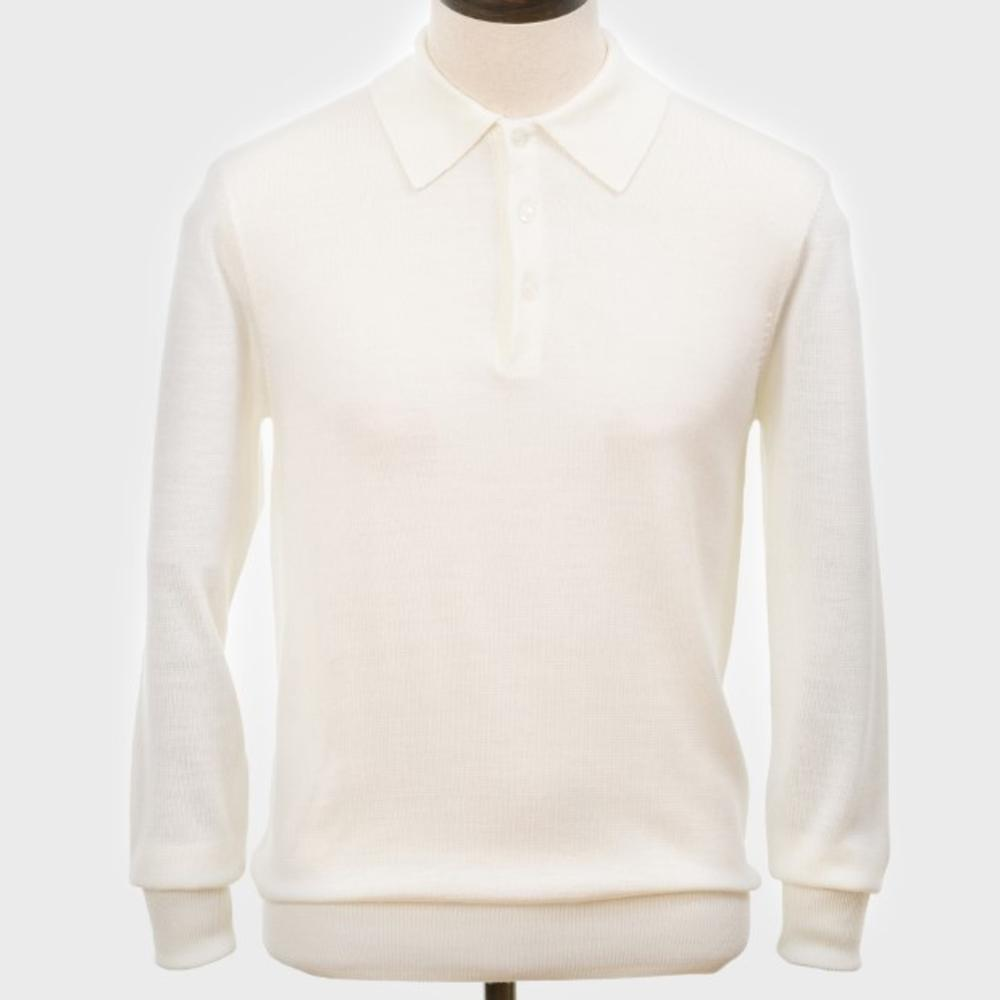 Art Gallery Mens Merino Wool Knit Polo Off White