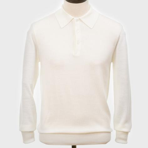 Art Gallery Mens Merino Wool Knit Polo Off White Thumbnail 1