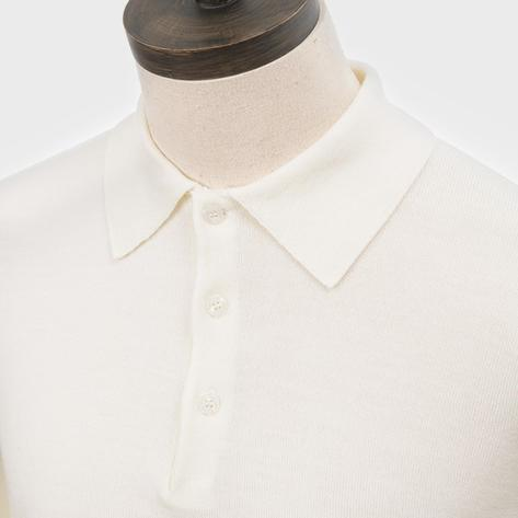 Art Gallery Mens Merino Wool Knit Polo Off White Thumbnail 2