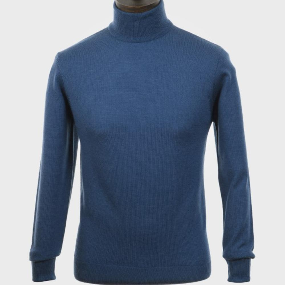 Art Gallery Mens Merino Wool Roll Neck Jumper Mid Blue