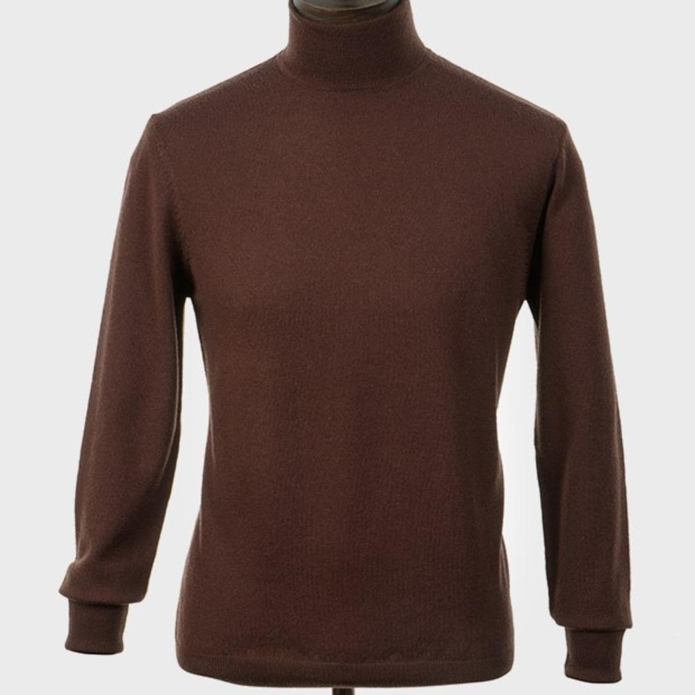 Art Gallery Mens Merino Wool Roll Neck Jumper Chocolate