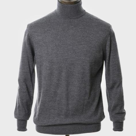 Art Gallery Mens Merino Wool Roll Neck Jumper Charc Grey