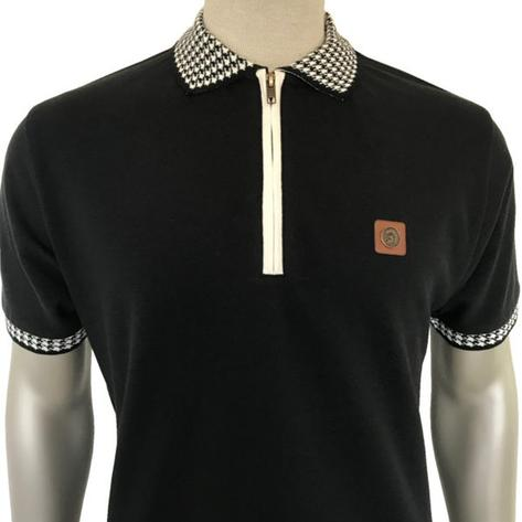 Trojan Records Dogtooth Zip Collar Polo Shirt Black