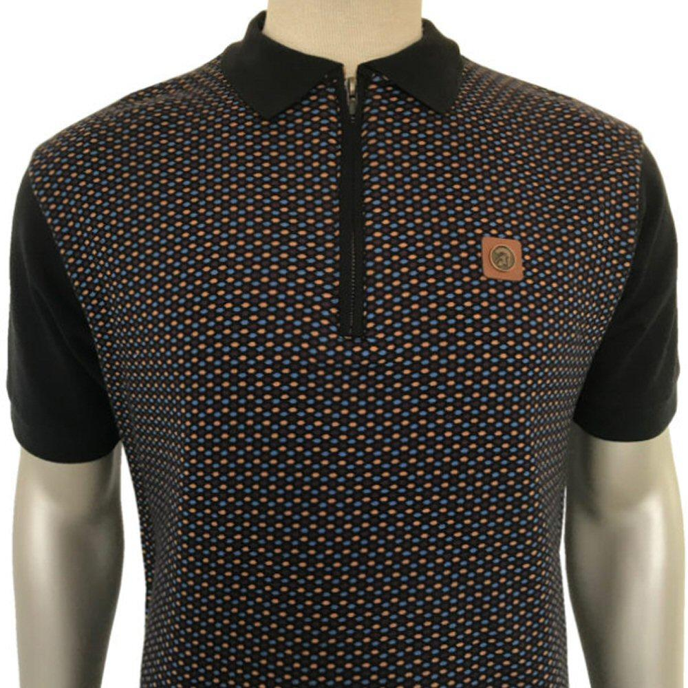 Trojan Records Geometric Zip Collar Polo Shirt Black