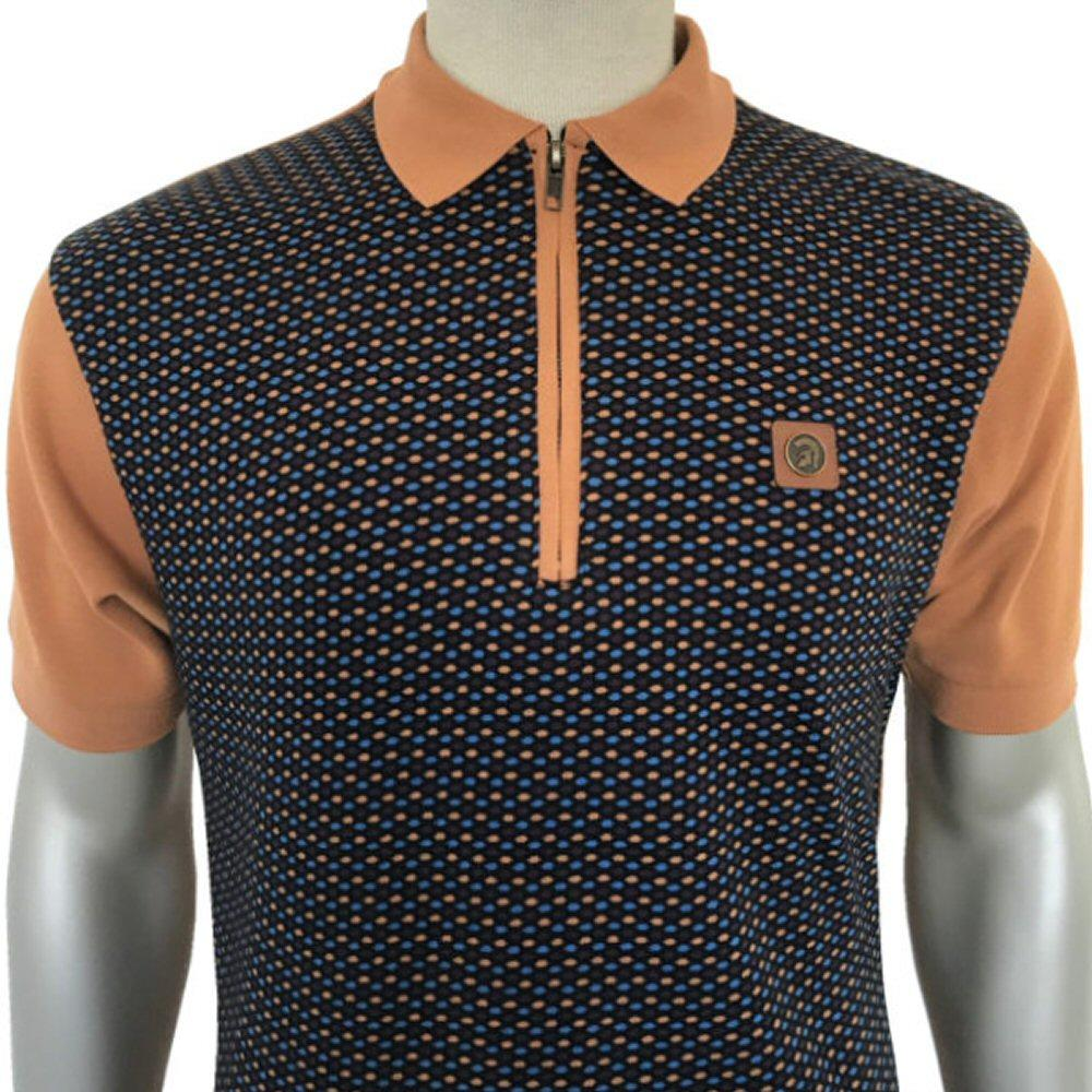 Trojan Records Geometric Zip Collar Polo Shirt Tan