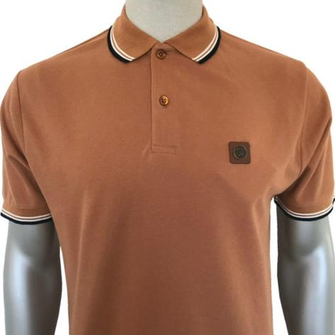 Trojan Records Tipped Two Button Polo Shirt Tan