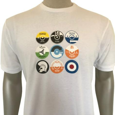 Trojan Records Multi Record 45 Print T-Shirt White