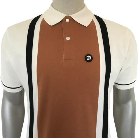 Trojan Records Retro Racing Stripe Polo Shirt Ecru Thumbnail 1