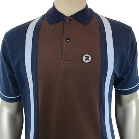 Trojan Records Retro Racing Stripe Polo Shirt Blue