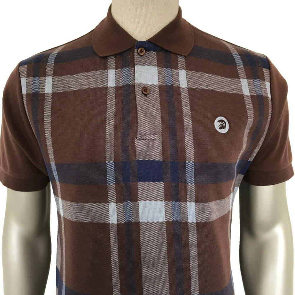 Trojan Records Retro Bold Check Polo Shirt Brown