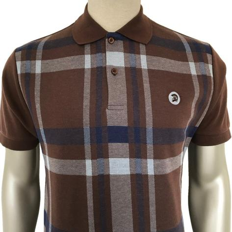 Trojan Records Retro Bold Check Polo Shirt Brown Thumbnail 1